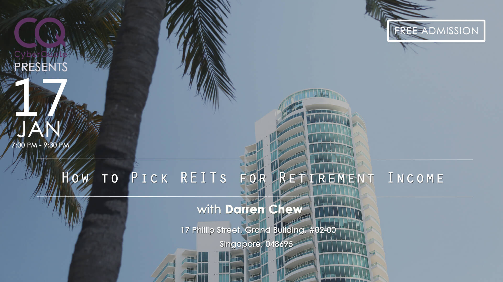 Free Seminars FB Event Cover LIM How to Pick REITs for Retirement Income 04 Nov